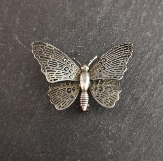 Vintage silver butterfly brooch, 1930s