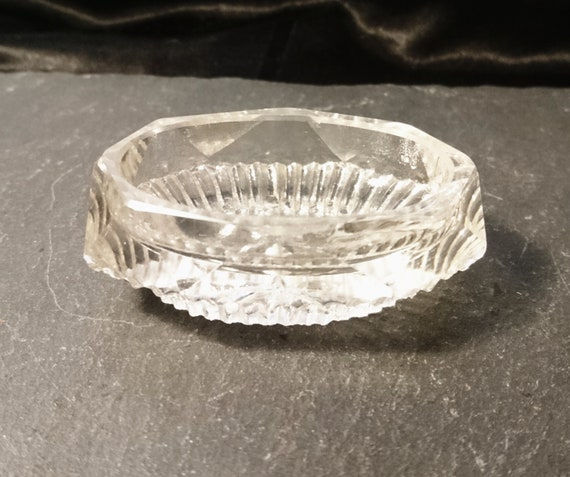 Antique cut glass salt cellar, oblong, Victorian era, single salt cellar