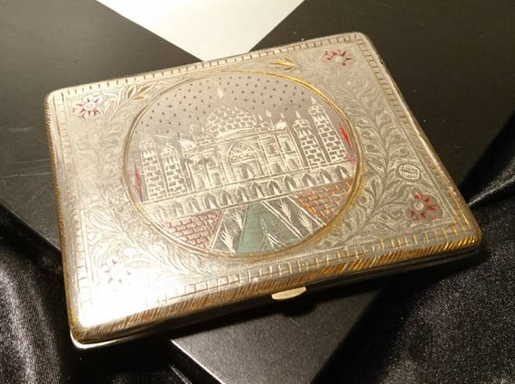 Vintage Indian cigarette case, 1940's taj mahal, etched cigarette case, monogrammed