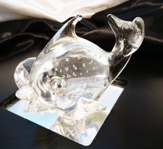 Vintage glass fish paperweight, bubble glass, 50s