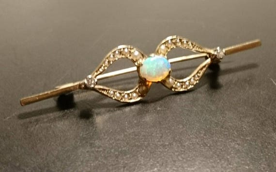 Opal, diamond and split pearl bar brooch, vintage 9ct gold openwork bar, beautiful shining opal, fully hallmarked