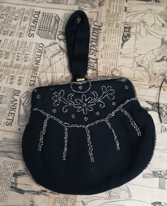 Vintage Art Deco evening purse, black chiffon beaded, 1920's clutch