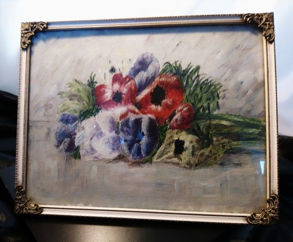 Antique still life oil on board, spray of Anemones, 19th century oil painting