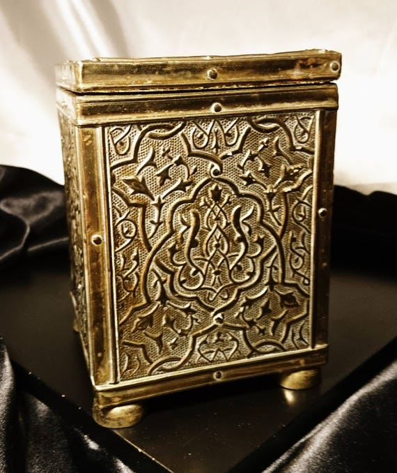 Antique tea caddy, embossed brass single tea caddy with lid, art nouveau