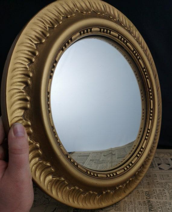 Vintage 30's gilt framed sunburst wall mirror, Art Deco concave mirror