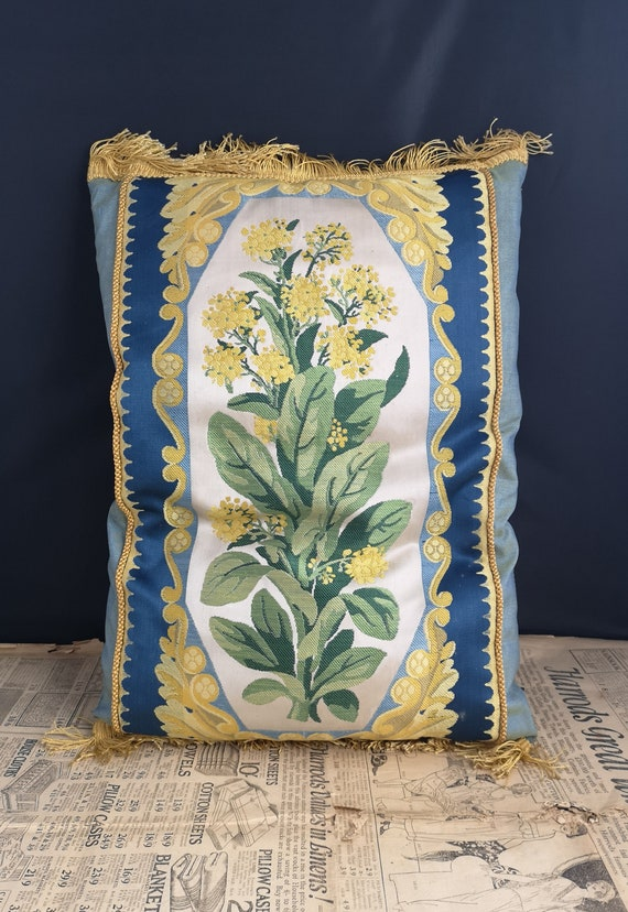 Victorian silk and embroidered cushion, floral tapestry