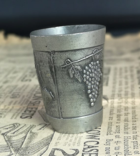 Vintage pewter shot glass, mid century barware