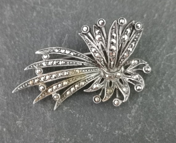 Vintage silver and marcasite brooch, large Art Deco 30s spray brooch