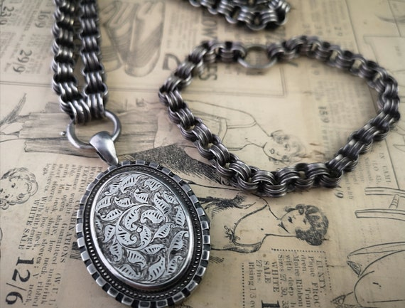 Antique Victorian silver locket and collar necklace and bracelet, parure