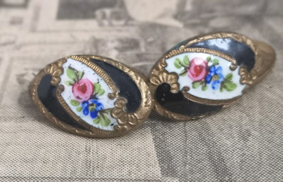 Antique enamel cufflinks, floral, gilt metal, Victorian gents cufflinks