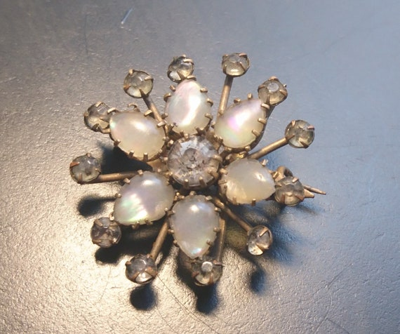 Antique flower brooch, Victorian opalite and paste brooch
