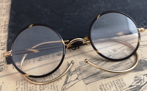 Vintage 1920's gold and faux tortoiseshell glasses, round framed spectacles