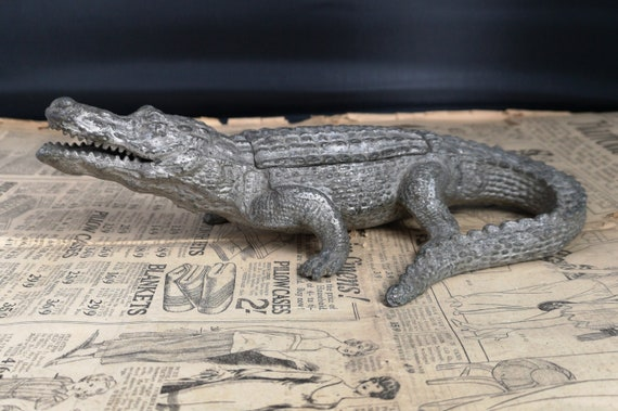 Antique crocodile inkwell, Victorian cold painted spelter, double inkwell