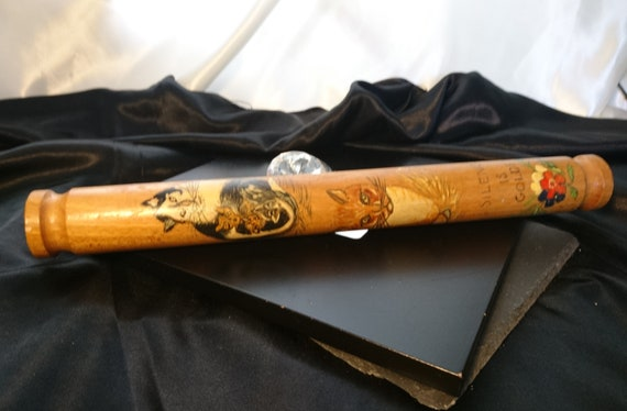 Rare Victorian hand painted rolling pin, antique Treen, cats, silence is golden