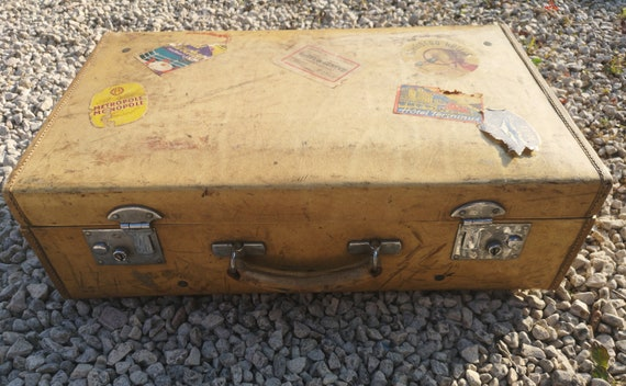 Vintage 1920's leather suitcase, tan leather lockable travel case, vintage English luggage