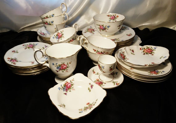 Vintage tea set, Crown Staffordshire, floral chintz, English, Afternoon tea set, 40pcs, traditional fine bone china