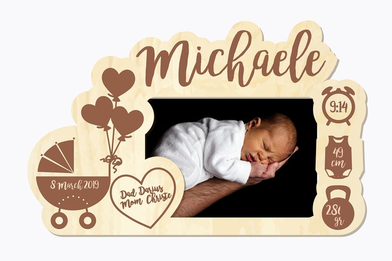 Newborn Gift Newborn Baby girl Picture Frame -Gift for New Parents Nursery Picture Frame Personalized Birth Announcement Picture Frame