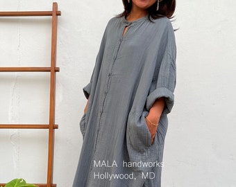 "P-9 Long Blue Gray Double Gauze Shirtdress 56"", One size fit most, Unisex, red shirt dress, lounge wear, home wear, street wear"