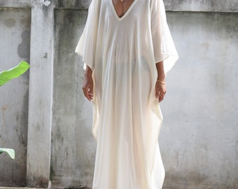 707bf789b3 COTTON GAUZE KAFTAN, White Caftan, Kaftan see through,Long Beach dress, Beach  party dress, Pool party dress, Sheer dresses, See though dress