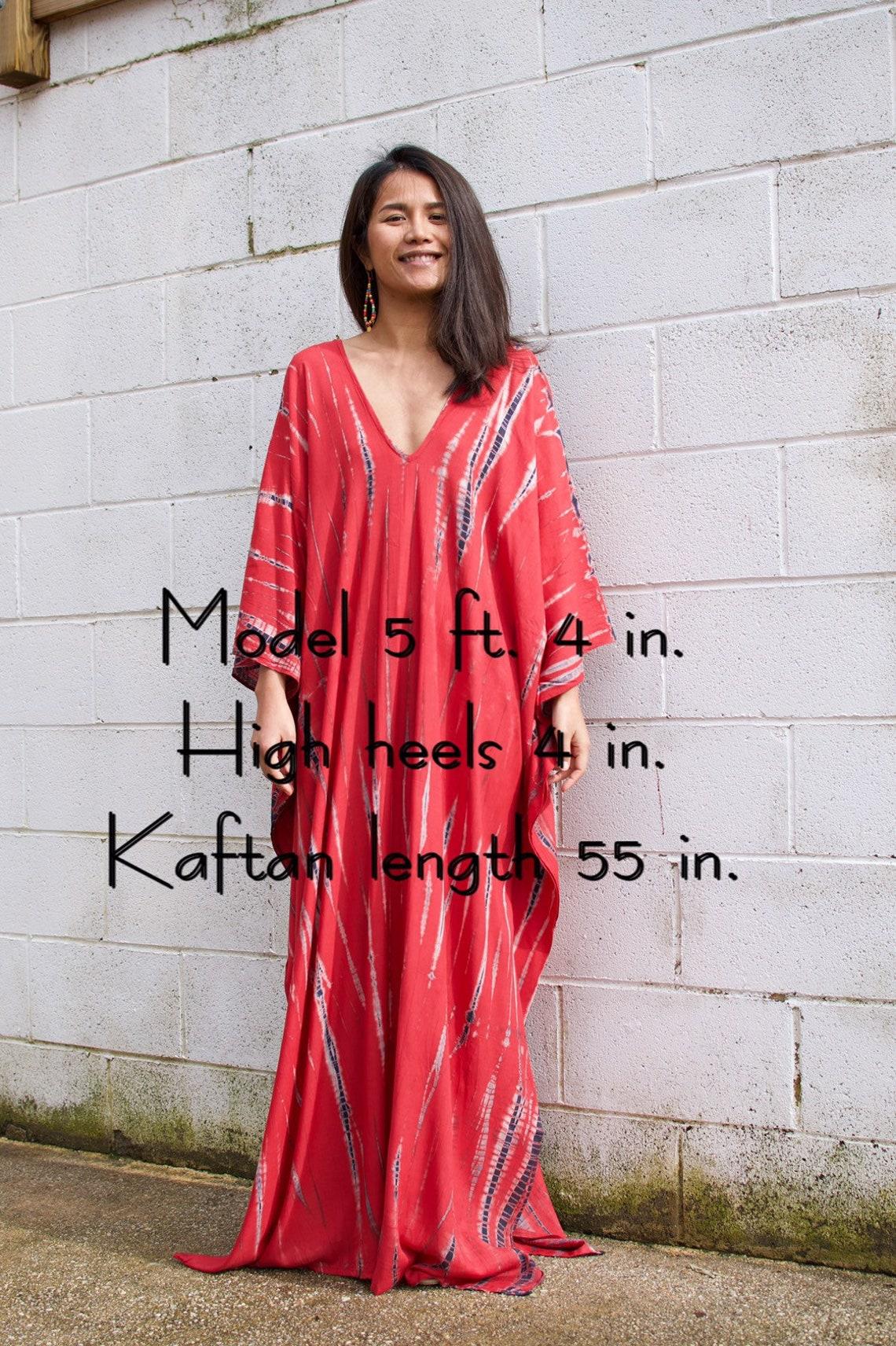 A.Red tie dyed rayon kaftan dress Red kaftan V neck dress