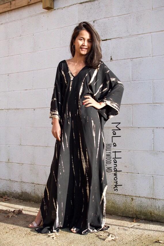 A. KAFTAN, Black Kaftan,One size dress, Pool party dress, V-neck,Tie dye  dress, Resort wear,Beach wear, Kaftan dress,Swimsuit coverup,Caftan
