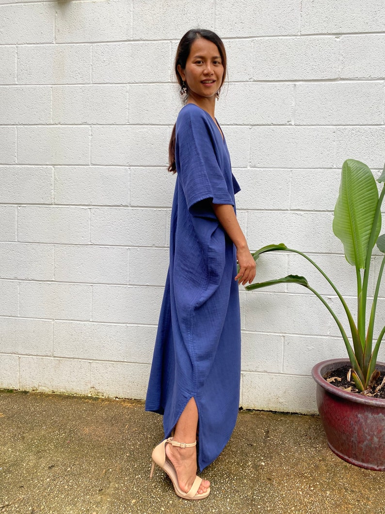 DP.6  One Size  Karen Double gauze kaftan One size fit cotton kaftan Hand dye kaftan One size Indigo Blue Double gauze kaftan