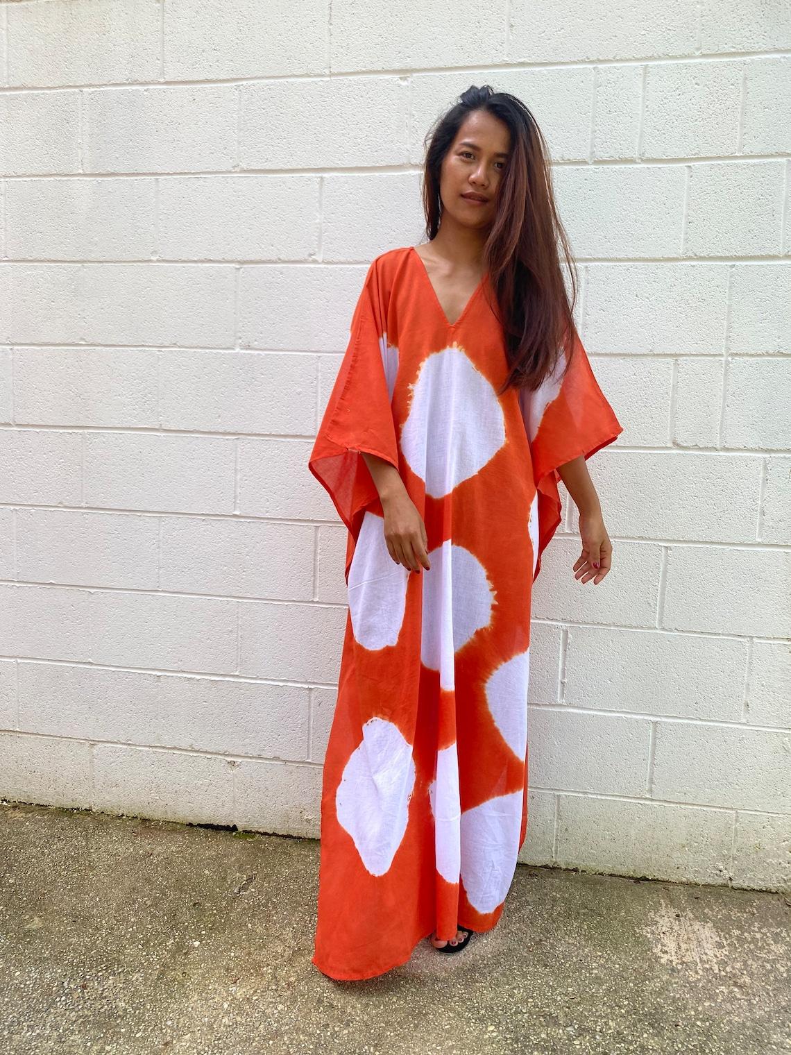 O. COTTON GAUZE KAFTAN Summer dressTie dyed Hand tie dyed