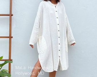 "P-1 Midi White Double Gauze Shirtdress 41"", One size fit most, Unisex, white shirt dress, lounge wear, home wear, street wear"