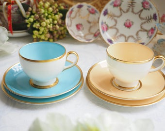 Sale 20% off : Vintage Wedgwood blue trio and peach trio, cup & saucer with side plate (6 pcs)