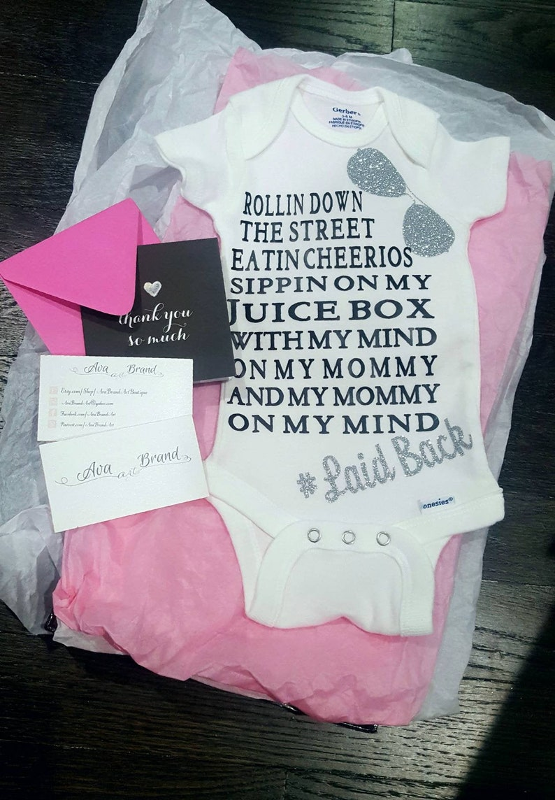 Cute baby clothes Funnny Baby boy or girl onesie Rolling down the street sipping on my juice box with my mind on my mommy New Baby gift