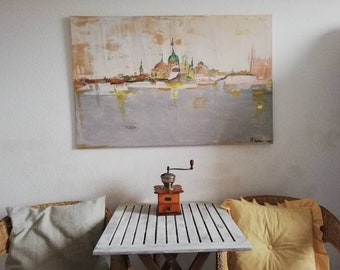 Gold Town,Large abstract painting, original wallart, abstract landscape, acrylic on canvas, modern art, large painting,abstract art