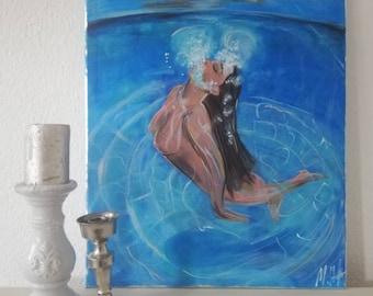 Woman on Holiday, Acrylic Painting, Moderne Kunst, Unikat