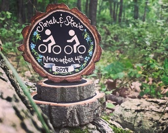 Bicycling Cake Topper Rustic Woodland Hiking Kayak Nature Wedding Camp Outdoor Gift Hike Camp Surf Swim Climb Wood Slice National Parks