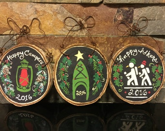 Hiking Christmas Ornament National Parks Camping Climbing Kayaking Skiing Boating Canoe Chalkboard Rustic Wood Slice Personalized Trail Run