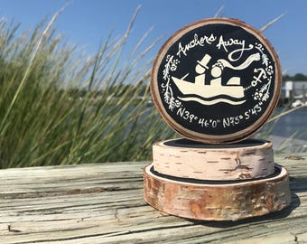 Boating Nautical Wedding Cake Topper Beach Kayaking National Parks Nature Lovers Birch Wood Slice Surf Kayak Boat Canoe Surfing