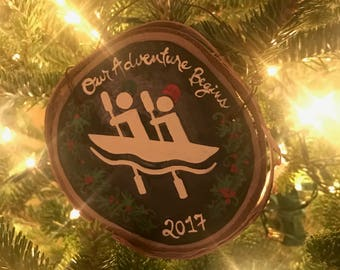 National Parks Wood Slice Kayaking Ornament Camping Canoe Climbing Skiing Boating Canoe Chalkboard Christmas Personalized Trail Run