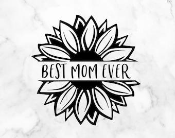 mom life svg mothers day svg floral border svg hand lettering with peony wreathe svg Best mom ever svg for shirt