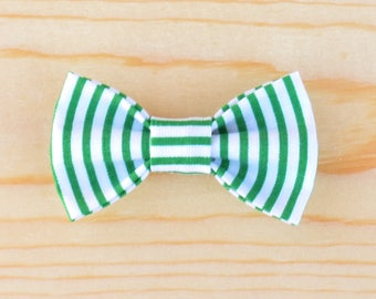 Green And White Bow, Green And White Stripes Bow, St. Patrick's Day Bow