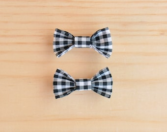 Black Gingham Bow, Pigtail Bows