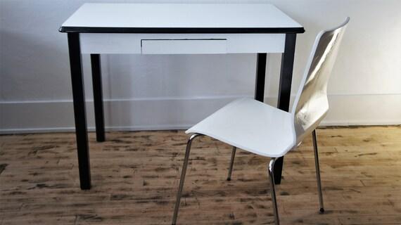 Enamel Top Kitchen Table/Hoosier Table/ Metal-Wood Desk/ 1940\'s Furniture