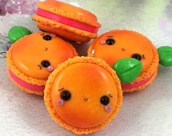 Peach Macaron Charms, Polymer Clay Jewelry, Polymer Clay Charm, Planner Charm, Planner Accessory, Peach Charm, Peaches, Macarons, Kawaii