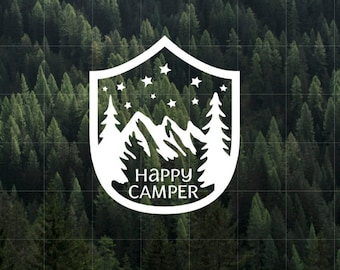 Happy Camper Vinyl Decal   MacBook Decal   Camper Decal   Car Decal   Yeti Decal   Water Bottler Decal   Happy Camper   Camping   Outdoors