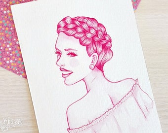 Pink watercolor Scarlett Johansson inspired mini portrait (Original art)