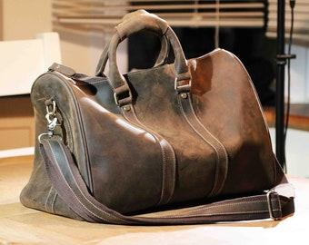 Duffle Bag, Vintage Travel Bag, Duffle Bag Weekender, Distressed Leather Bag, Vintage Travel Bag, Gift for Him, Light Luggage, Husband Gift