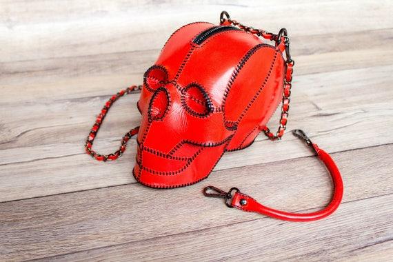 Red Skull   Red Skull Bag   Leather Skull Purse Clutch   Skull Handbag by Etsy