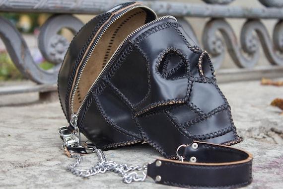 Skull Bag   Leather Black Handbag   Leather Skull Purse Clutch   Skull Handbag by Etsy