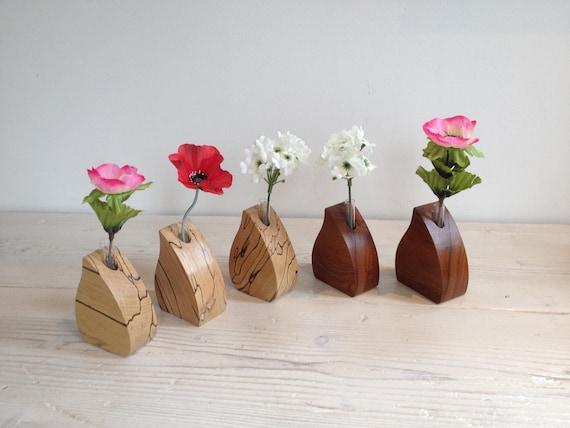 Wooden Flower Vase Single Stem Wedding Glass Test Tube Etsy