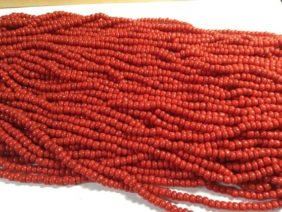 Perles de rocaille - chapelet de perles rouge - chapelet de perles de rocaille - Opaque rouge perle - rouge verre perles rouges - chapelet de perles de verre - perles de rocailles 6/0 - Czech Seed