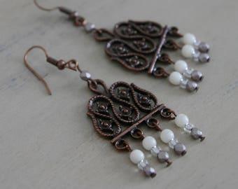 Copper Chandelier Drop Earrings