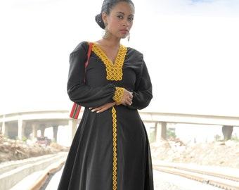 d5abe032c3dc8 Black Ethiopian dress/ Black maxi chiffon dress/ Modest prom dress/ Modest formal  dress/ Modest gown/Muslim fashion/ flowy maxi dress